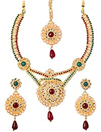 Touchstone Beautiful Necklace Set With Maang Tika For Women