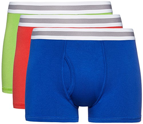 FIND Herren Boxershorts, 3er Pack Mehrfarbig (Lime X1, Royal X1, Classic Red X1)