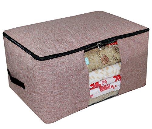 Bolsa de organizador de almacenamiento de la casa, ordenar su armario, suéteres / edredones / mantas / juegos de sábanas / almacenamiento de edredón, ventana transparente, dos cremalleras laterales, rojo