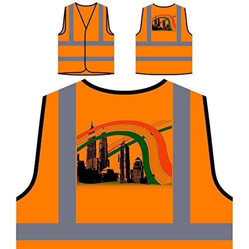 Indien Asien Kuala Lumpur Türme Welt Personalisierte High Visibility Orange Sicherheitsjacke Weste d806vo
