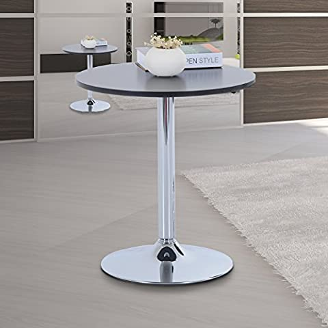 HOMCOM Round Bar Table 66cm Pub Bistro Wine Counter MDF Top Kitchen Home Use Black