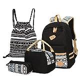 4 Teile Set Causal Rucksack Freizeitrucksack Daypacks Backpack, Rucksack Schule/Schulranzen...