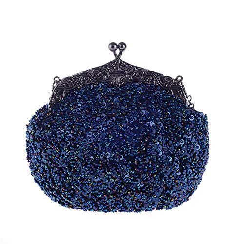 LLUFFY-Clutch Handtasche Handschellen Perlen bestickt Retro Abend Party Tasche Pailletten Hand Frauenkleid mit Cheongsam, 20 * 16 * 8 cm, blau -