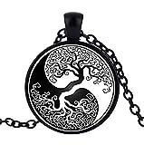 Collana con ciondolo albero della vita, yin & yang, forza di la vie.