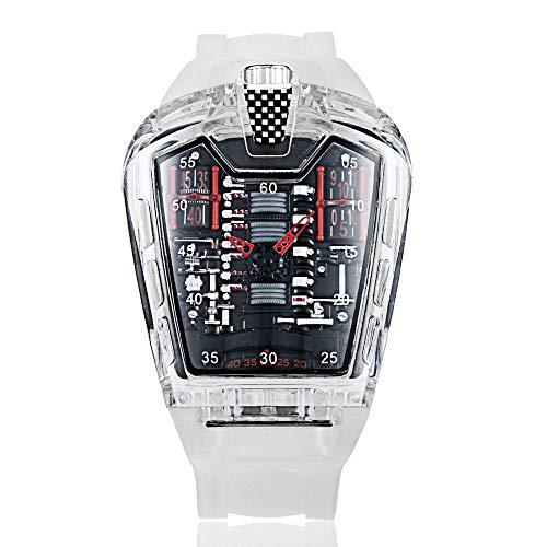 Uhrenmarke Uhrenpersönlichkeit Transparent Studentenbewegung Quarz Transparent Rot-1