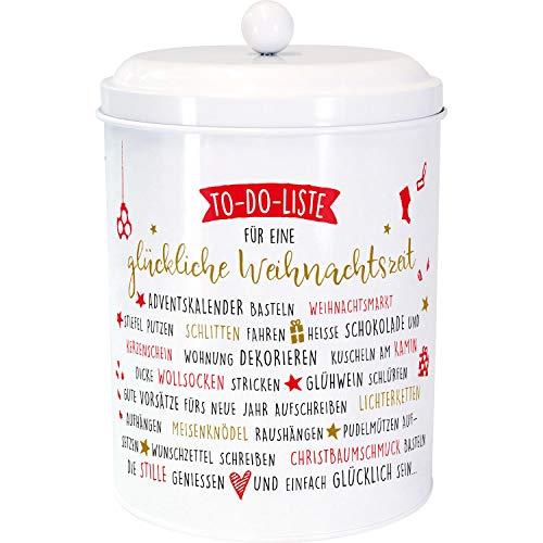 Die Geschenkewelt 49783 Plätzchendose Happy Life Fröhliche Weihnachtszeit, Weiß