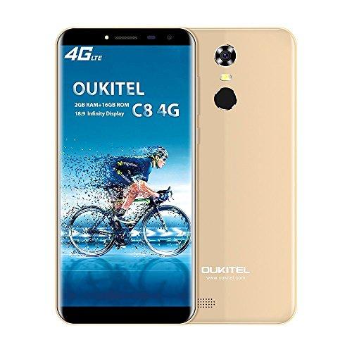 OUKITEL C8 4G Smartphone Barato Sin Marcos Android 7.0 5,5''HD Telefonos Moviles Libres 3000mAh QuadCore 5.0MP+13.0MP Cámara 2GB RAM+16GB ROM Huella Digital GPS Dual Sim- Oro