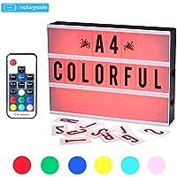 CrazyFire Caja de Luz, Cambio de Color Lightbox A4,Batería Recargable Cinematic Led Box con 189 Cartas y Emojis (7 Colores)