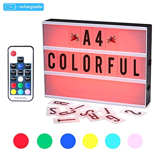 CrazyFire Caja de Luz, Cambio de Color Lightbox A4,Batería Recargable Cinematic Led Box con 189 Cartas y Emojis (7 Colores)