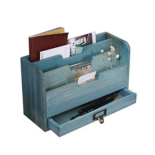RZ.hs Wooden Storage Organizer Desktop-Datei Organizer Mail Sorter Office Aufbewahrungsbox 3 Slots mit Schublade, 29 * 17 * 11cm, Vintage Blue