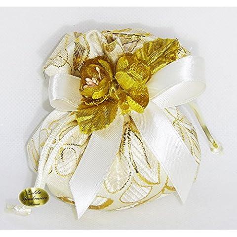 Bomboniera Caja de Pvc de 75D, Plata U Oro y Flor Artificial (ZELDA2007)