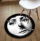ANCRY Kunstteppich, Runde Teppiche, Vintage personalisierte dekorative Teppich Tür Bodenmatte Fußmatte für Schlafzimmer Wohnzimmer (Farbe : F, größe : 140cm)