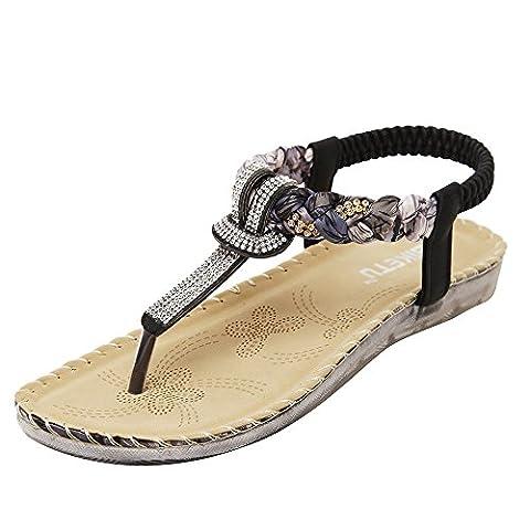 FEITONG Frauen Boho Rhinestone flache lässige Sandalen Strand Schuhe (41,