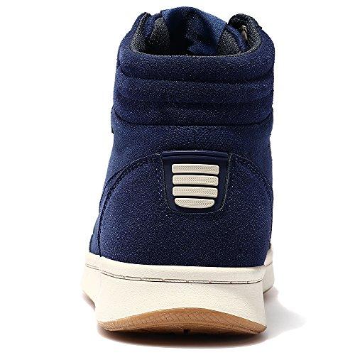 VILOCY Herren Damen Segeltuch Knöchel Stiefel Winter Pelz Gefüttert Draussen Schlittschuh Sport Schnee Sneaker Schuhe Blau