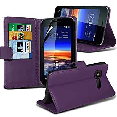 Vodafone Smart 4 Mini Premium Top Flip Briefständer PU Leder Case Skin Cover + LCD Screen Protector Film by ONX3® (violett)
