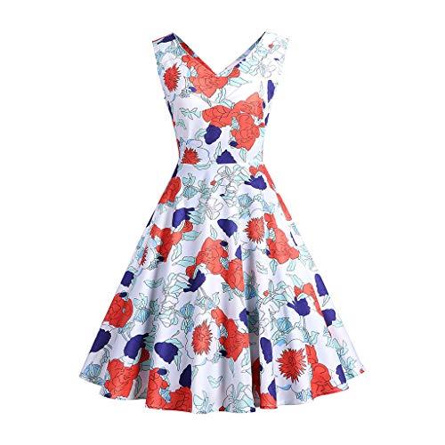 50er Vintage Kleider, UFACE Damen Vintage Polka Dots A-Linie Ohne Arm Rockabilly Kleid Cocktailkleider Swing Kleider 1950er Retro ()