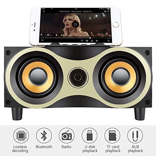 GLXLSBZ Holz Bluetooth Lautsprecher Tragbarer Drahtloser Subwoofer Starker Bass Leistungsstarke Sound Box Musik Magic Cube für Smartphone Tablet Laptop Tragbar Bluetooth Lautsprecher Box