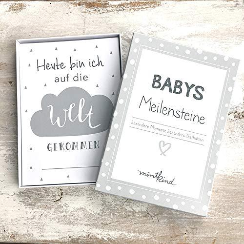 mintkind Meilensteinkarten Baby grau neutral I 26 Karten im Set I Geschenkidee Schwangerschaft Babyparty Geburt
