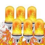 LED Flamme Glühbirne,E27 Led Glühbirne Feuer Glühbirne,bewegliche flackernde Feuereffekt LED Flamme lampe 7W mit 4 Modi Feuer Effect Birne Und Schwerkraftfühler Dekorative Leuchte