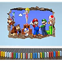 Mario And Friends Breakout Smashed 3D Wall Sticker Girl Boy Bedroom Decal Poster - Extra Large Landscape 100cm (w) X 70cm (h) preiswert