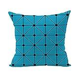 Nunubee Geometrische Muster Kissenbezug Dekokissen Haus Dekoration weich Quadrat Sofa Kissen Schachbrett Form Blau
