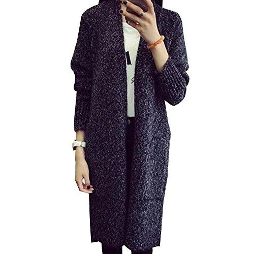BOZEVON Femme Sweat Tricot Manche longue Haut Pull Cardigan Sweater Noir