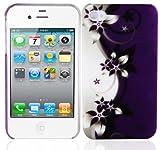 Cadorabo - TPU Hard Cover per  Apple iPhone 4 / iPhone 4S  - Case Cover Involucro Bumper Accessorio in Design: FIORE-VIOLETTA