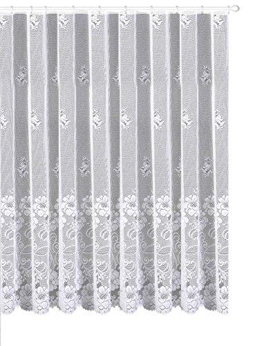 Gardine Vorhang Store aus edlem Jacquard mit großer Blumen Bordüre - Kurzstore HxB 90 x 450 cm für Fensterbreite 140-180 cm - geprüfte...