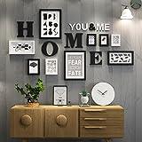 LQQGXL Foto cornice collage legno combinazione foto cornice soggiorno creativo parete ristorante decorazione della parete foto Cornice per foto (Colore : Bianco e nero)