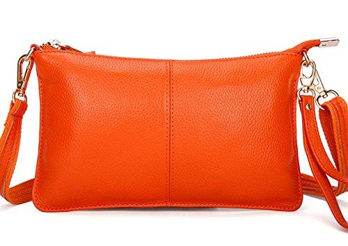 La Signora Semplice Frizione In Pelle Morbida Orange