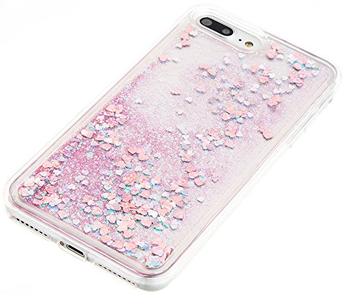 Nnopbeclik [Coque Iphone 7 Plus Silicone] Paillettes Briller Style Backcover Transparente Doux Soft Housse pour Iphone 7 Plus Coque silicone (5.5 Pouce) Antichoc Protection Antiglisse Anti-Scratch Etu pink