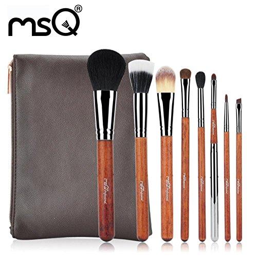 MSQ 8Pcs ensemble de pinceau de maquillage / pinceau de maquillage Barreled avec des taches noires sur blanc / débutant outils cosmétiques portatifs / hypoallergénique / professionnel / outils de maqu , STBA08GR