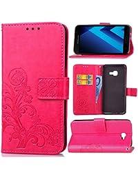 Funda Para Samsung Galaxy A5 (2017 Version , 5.2 pulgada) , pinlu® Alta Calidad Función de plegado Flip Wallet Case Cover Carcasa Piel PU Billetera Soporte Con Trébol de la suerte Rojo