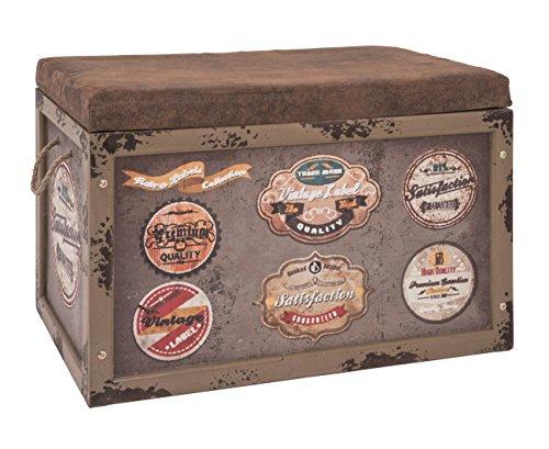 Sitztruhe bzw. Kiste Maße (B/T/H) in cm: 65 x 40 x4 2 aus Kunstleder und MDF in Vintageoptik