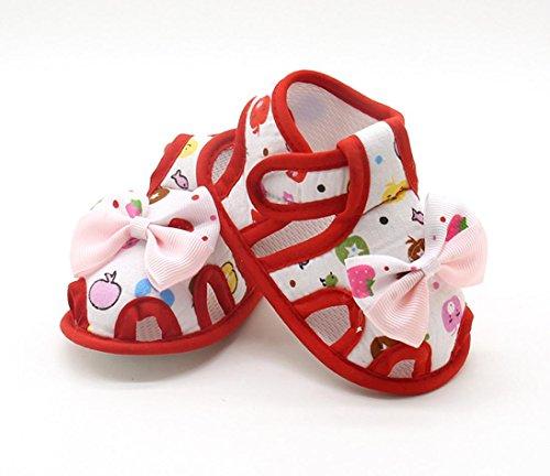 Igemy 1Paar Neugeborene Baby Mädchen Sommer Bogen Soft Sole Kleinkind Anti-Rutsch Schuhe Sandalen Rot
