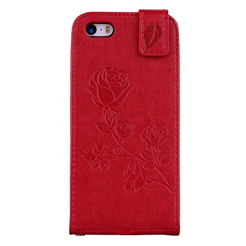 "MOONCASE iPhone 5/iPhone 5s/iPhone SE Coque, [Embossed Pattern] Card Holster Flip Housse Durable PU Cuir Anti-choc Supports Protection Etui Cases pour iPhone 5/iPhone 5s/iPhone SE 4.0"" Rouge Rouge"