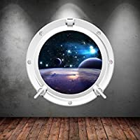 Space Porthole Planets Universe Galaxy Spaceship Wall Art Sticker Decal Mural Transfer Print 2