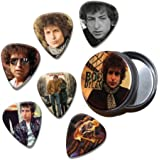Bob Dylan Set of 6 Loose Púa Para Guitarra in Tin ( Collection D )