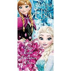 Disney La Reine des Neiges WD17862 Serviette De Plage, Bain, Piscine, polyesther , Fille, Elsa, Anna