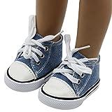 Mingfa Puppenschuhe, Sneakers zum Schnüren aus Leinen, für 45,7-cm-Puppen (18 Zoll), z.B. Our Generation, American Girl/Boy