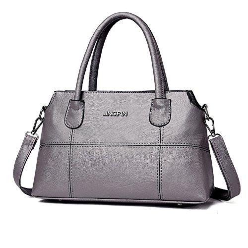 TianWlio Frauen Handtasche Mode Leder Splice Handtasche Schultertasche Umhängetasche Tragetasche Grau -