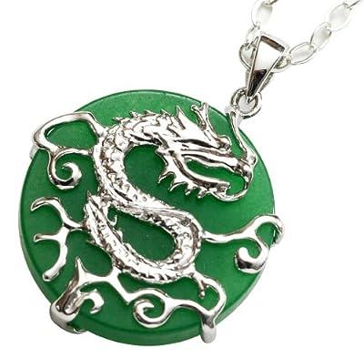 Anderson & Webb Green Jade Silver Dragon Pendant Necklace 45cm by Anderson Webb