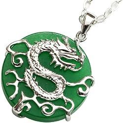 Colgante con motivo de un dragón - Jade engarzado en plata de ley el colgante
