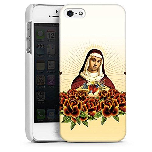 Apple iPhone 4 Housse Étui Silicone Coque Protection Maria Croix Roses CasDur blanc