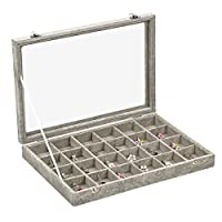 Ivos Velvet Glass Jewellery Ring Display Organiser Box Tray Holder Jewellery Earrings Storage Case