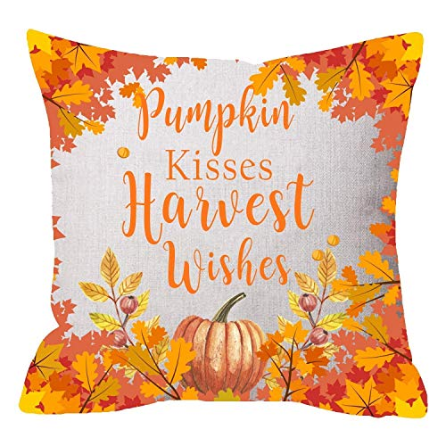 Xukmefat Wedding Gift Welcome Autumn Fall Theme Big Tree Pumpkin Kisses Harvest Wishes Beige Cotton Linen Throw Pillowcase Cushion Cover Sofa Chair Decorative Square 18 X 18 inches