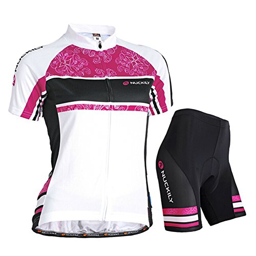 West Biking Damen Sommer-Fahrradbekleidung, Atmungsaktiv, schnelltrocknend, kurzärmelige Jacke / Trikot mit durchgehendem Reißverschluss und Gepolsterter Radlerhose, Herren Kinder Mädchen damen unisex, Weiß/Pink, Tag M (H:5'1''-5'3'', W:110-121lb)