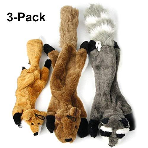 g Cute Dog Chew Toys Set mit Squirrel Fox und Raccoon Squeaky Plüsch Hundespielzeug für Mittlere und Große Hunde, 3er Pack ()