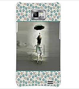PrintDhaba Girl with Umbrella D-2616 Back Case Cover for SAMSUNG GALAXY S2 (Multi-Coloured)