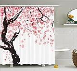 Abakuhaus Duschvorhang, Japanische Kirschbaum Blüte im Aquarell Effekt Orientalischer Stilisiert Art Druck Kirschzweig, Blickdicht aus Stoff mit 12 Ringen Waschbar Langhaltig Hochwertig, 175 X 200 cm